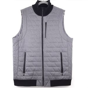 CALVIN KLEIN Quilted Zippered Vest Gray Black Size XL Tall